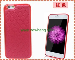 2015 New design stick a skin leather case for iphone6, tpu hard case for iphone6