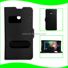 Factory Supply In Stock Mouse PU Leather Time Call Showing Double Window Stand Phone Case for Huawei Y300