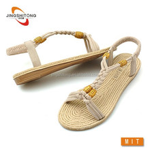 New style comfortable girls flat woven straw sandals