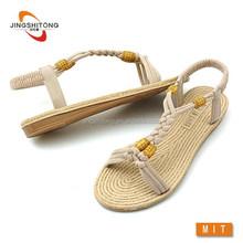 Sponge EVA footbed comfortable girls flat woven rope sandals