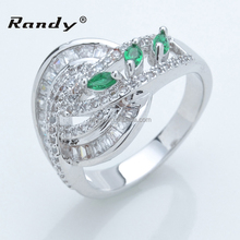 Wholesale Fashion Ring Design Professional Zircon And Green Gemstone Rings Jewelry