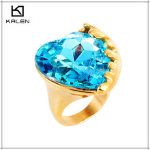 gold plated 585 titanium wedding emerald diamond ring