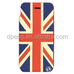 High quality OEM logo debossed flag phone case leather case for iphone 6 plus