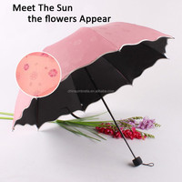 2015 umbrella New Style Touch Sunlight Appear Flower Pattern umbrella Fold Umbrella