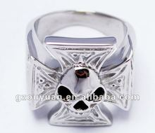 CZ stone inlay skull stainless steel ring/2012 new design stainless steel jewelry