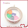 Factory price direct wholesale silver plated stainless steel round floating charm locket with clear glass