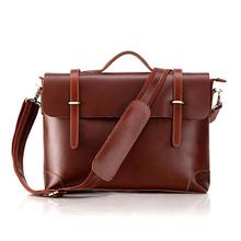 Smooth Leather Mens Briefcase Simple Tote Messenger Bag Fashion Handbag Images 2014 #7082B