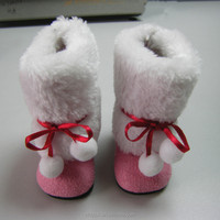 Winter fur doll shoes rubber sole doll shoes with PU coated