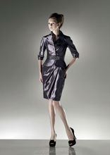Adorable Strapless Beading Long Sleeves Column Taffeta Cocktail Dresses Purple With Coat