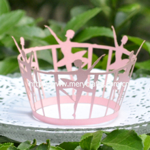 "Hot selling laser cut ""ballet girl"" cupcake wrappers party decoration birthday accessories from Mery Crafts"