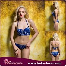 keke lover 2015 New arrival corset halter swimwear Women lined bikini pushed up swimsuit