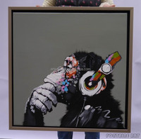 100% handmade Modern Abstract Animal Painting Acrylic on Canvas New Palette Knife Music gorilla in Stock