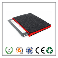 Carrying Black+Red Felt Laptop Sleeve with Double Zipper for Laptop / Notebook Computer
