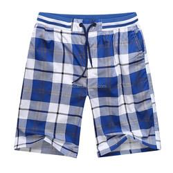 Plaid pattern 100% cotton mens baggy casual shorts cotton