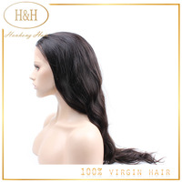 "Qingdao Hanhong Factory Free Style 6""---30"" Inch Hand Made Wig Top Grade Brazilian Virgin Hair Full Lace wig for black women"
