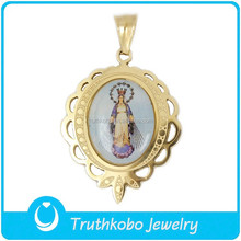 TKB-P0643 Fashion 2015 PVD for Jewellery Gold Stainless Steel Medal Image of Maria Beautiful Photo Frame Pendant
