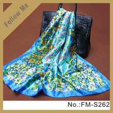 Spring Ladies Silk Neck Scarf Indian Silk Scarf Screen Printing Silk Scarf 2015
