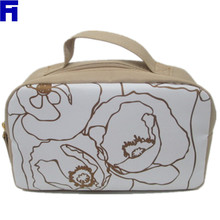 Hot Sale Fashion Polyester Cosmetic Bag With Beatiful Fllower Printed Picture for Girls