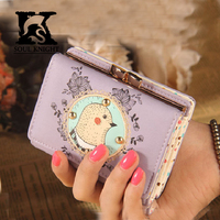 SK Cute Girl's printing PU Leather Trifold Wallet cow real leather wallet handbag