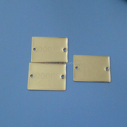 two holes blank gold plated metal logo plate with lasering serial number