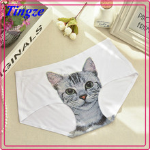 New design ice silk girls briefs seamless 3D print cats young little young sex girl panties