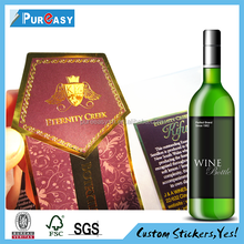 Terrific printing private wine bottle metal label