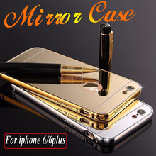 2015 New 24k Gold plated metal Aluminum Bumper Case For iPhone 6, phone case For iPhone 6 6plus Mirror Back Cover Hybrid Case