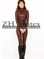 Coffee latex rubber catsuit, latex clothing