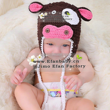 Toddler Child Kids Photo Prop Baby Earflaps Hat Handmade Crochet Knitted Animal Kids Hats