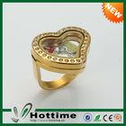 Top venda encantos flutuantes 316L anel de aço inoxidável