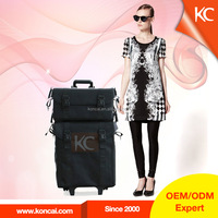 MOQ:1pc, 2015 latest fashion stylish nylon cosmetic case,nylon 2 in 1 makeup case with trolley system,nylon rolling system case.
