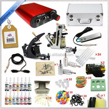 Factory Selling Professional Complete Tattoo Kit 2 Top Machine Gun 14 Color Ink.