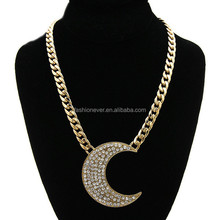 Celebrities Style Glam Metal Chain Moon Plain in/with Gold Necklace