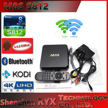 M8S amlogic s812 android 4.4 quad core tv box google android 4.4 tv box aml S812/mx6 upgrade 2G/8G 2.0GHz H.265 4K BT4.0 AP6330