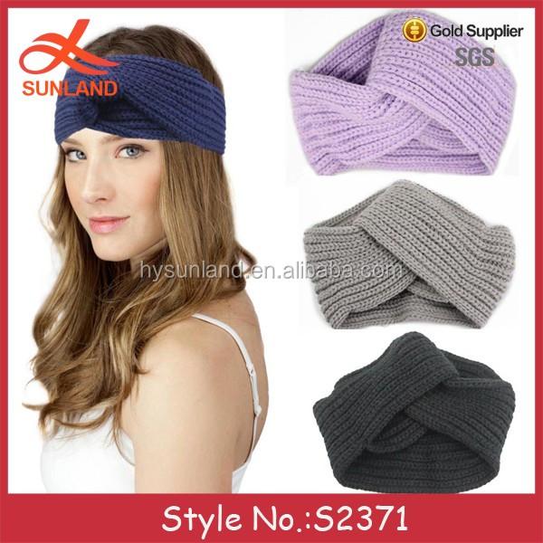 S2371 New Style Fashion Girls Women Cable Knit Cross Patterns Turban