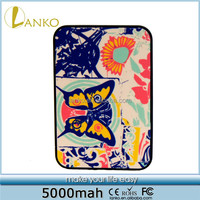 Flower Butterfly 5000mah power bank smart charger for mobile phone
