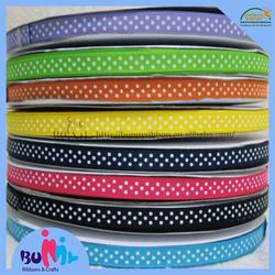 """Colorful 3/8"""" polka dots printed custom grosgrain ribbons, screen ink wholesale"""