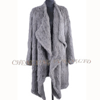 CX-G-A-215B Women Long Style Genuine Knitted Rabbit Fur Coat