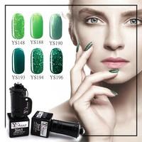 OEM UV / LED Gel Polish Nail Polish Green High-shinning Glitter Powder Nail Kits