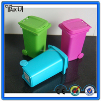 Plastic colorful Mini Trash Can Pen Container, garbage can shape pen container pen box