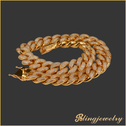 Iced out hip hop jewelry cz cuban link chain new gold chain design for men