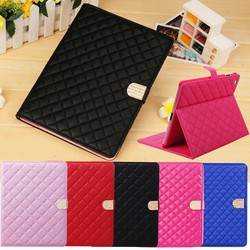 3D DIAMOND CRYSTAL QUILTED LEATHER MAGNETIC STAND COVER CASE FOR IPAD 2 3 4 + FILM