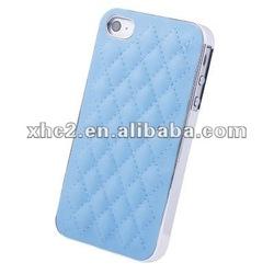 Imitation Sheep leather +knit diamond pattern plastic case case for iPhone 4 & 4S (Light Blue)