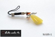natural authentic baltic amber silver angel for mobile phone telephone jewelry wholesales matt