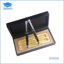 Black pen box for office gift or promotional pen set with copper wiredrawing metal pen
