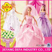 11.5 inch carton dolls with pink/purple/white dress and renewable shoes