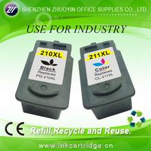 Environmental compatible ink cartridge pg 210/cl 211 for Canon 210 211deskjet ink cartridge