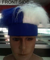 Blue and white team fan crazy hair