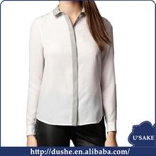 U'SAKE 2015 latest new model design long sleeve chiffon ladies blouse