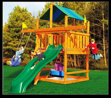 Outdoor wooden playground kids swing and slide LT-2072A